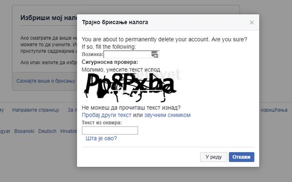 Trajno brisanje Facebook naloga